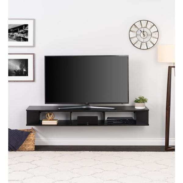 Prepac 70 In Black Composite Floating Tv Stand Fits Tvs Up To 75 In With Wall Mount Feature Bctw 1102 1 The Home Depot