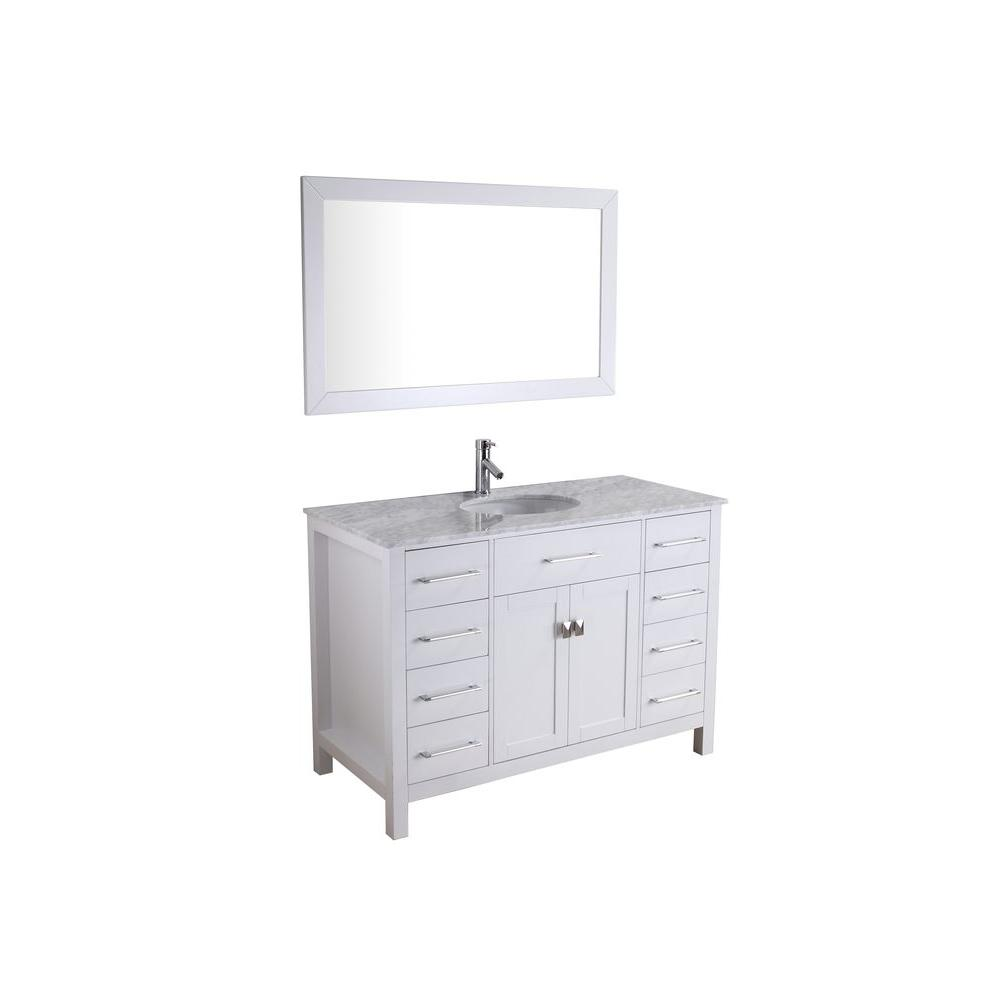 Virtu USA Kayleigh 46-1/2 in. Single Basin Vanity in White with Marble Vanity Top in Italian Carrara White-DISCONTINUED