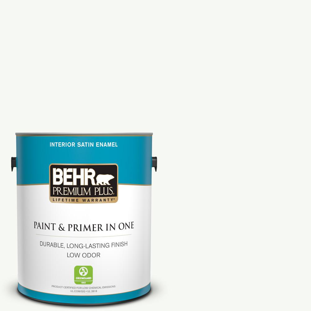 BEHR PREMIUM PLUS 1 gal. #PPU18-06 Ultra Pure White Satin Enamel Low Odor Interior Paint and Primer in One