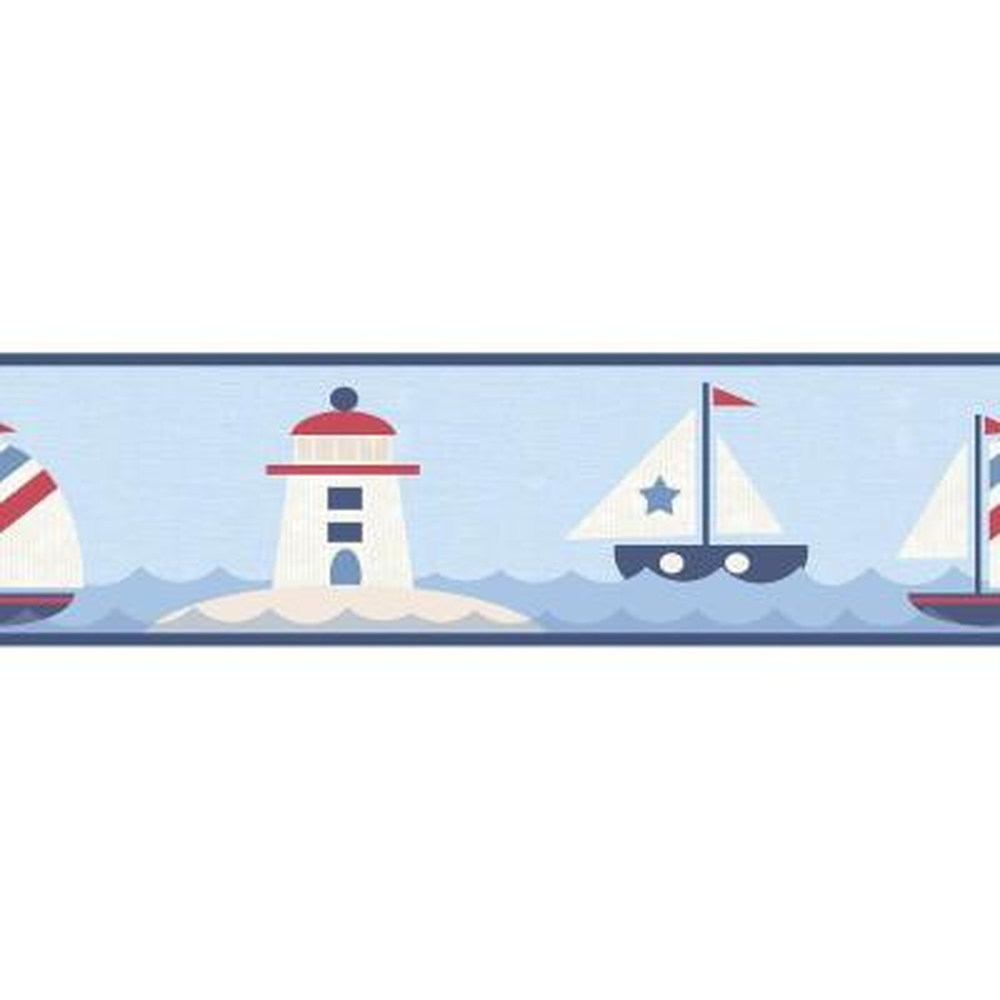 Travis Navy Come Sail Away Wallpaper Border Sample