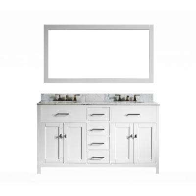 San Clemente 60 in. Vanity in White with Italian Carrara Marble Vanity Top with White Basin and Mirror