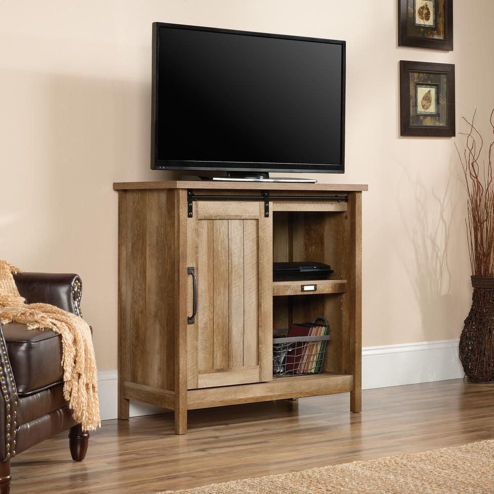 Adept Craftsman Oak Accent Storage Cabinet with Sliding Door