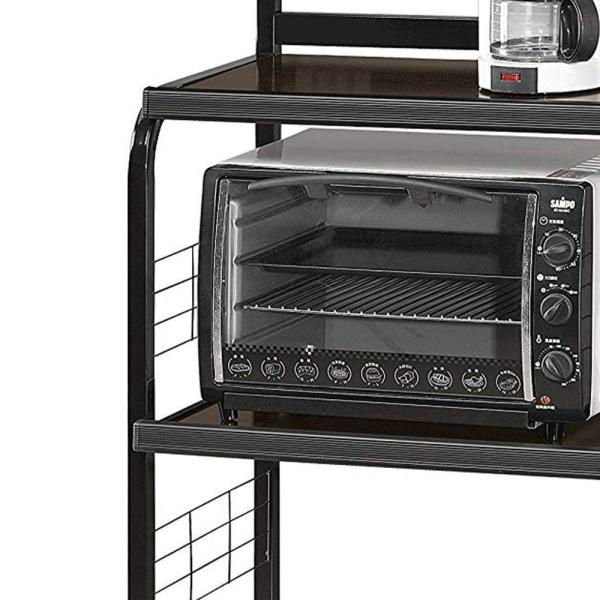 Benjara Brown And Black Microwave Cart