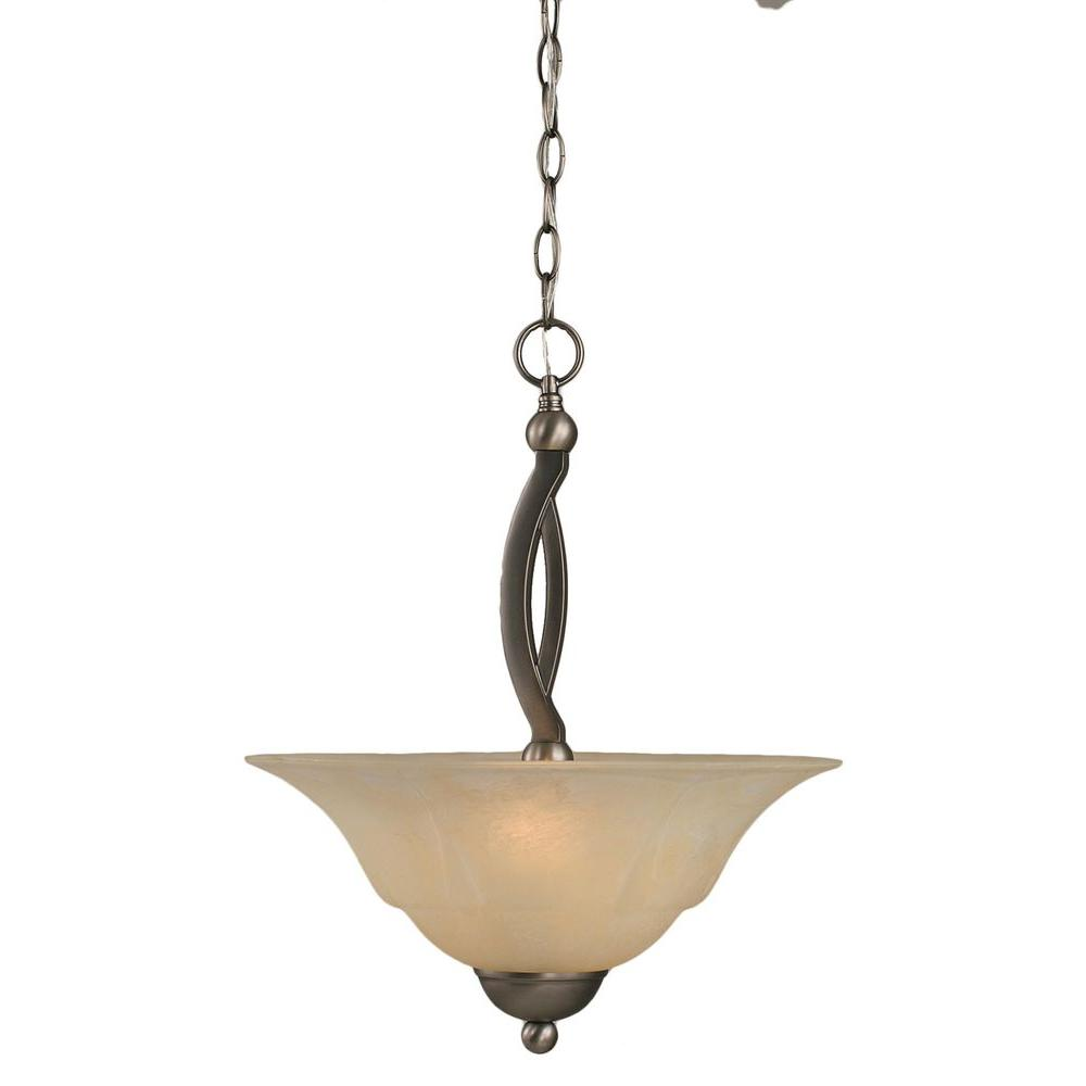 Concord 2-Light Brushed Nickel Pendant with Amber Marble Glass