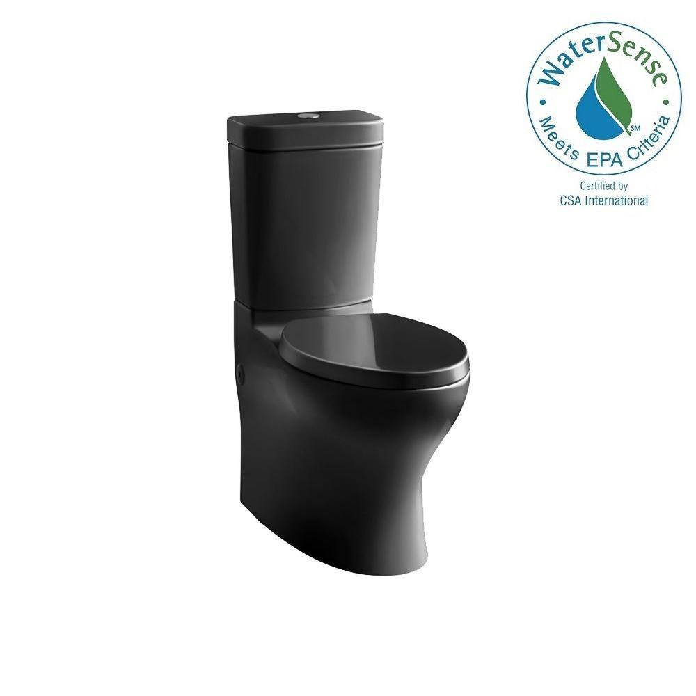 KOHLER Persuade Circ 2-piece 1.0 or 1.6 GPF Dual Flush Elongated Toilet in Black Black