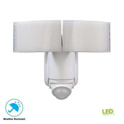 180° White Solar Powered Motion LED Security Light with Battery Backup