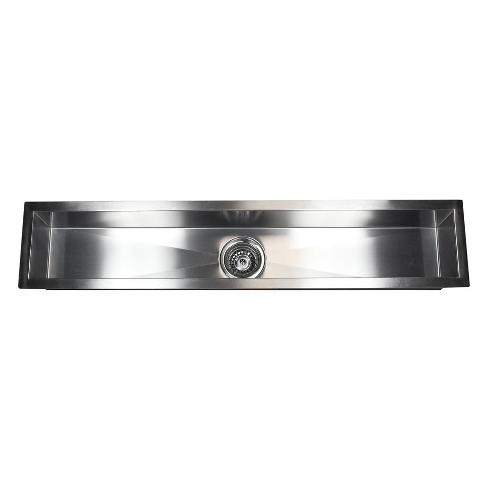 Undermount Stainless Steel Rectangular 42 in. x 8-1/2 in. x 6 in. Bar Island Single Bowl Kitchen Sink