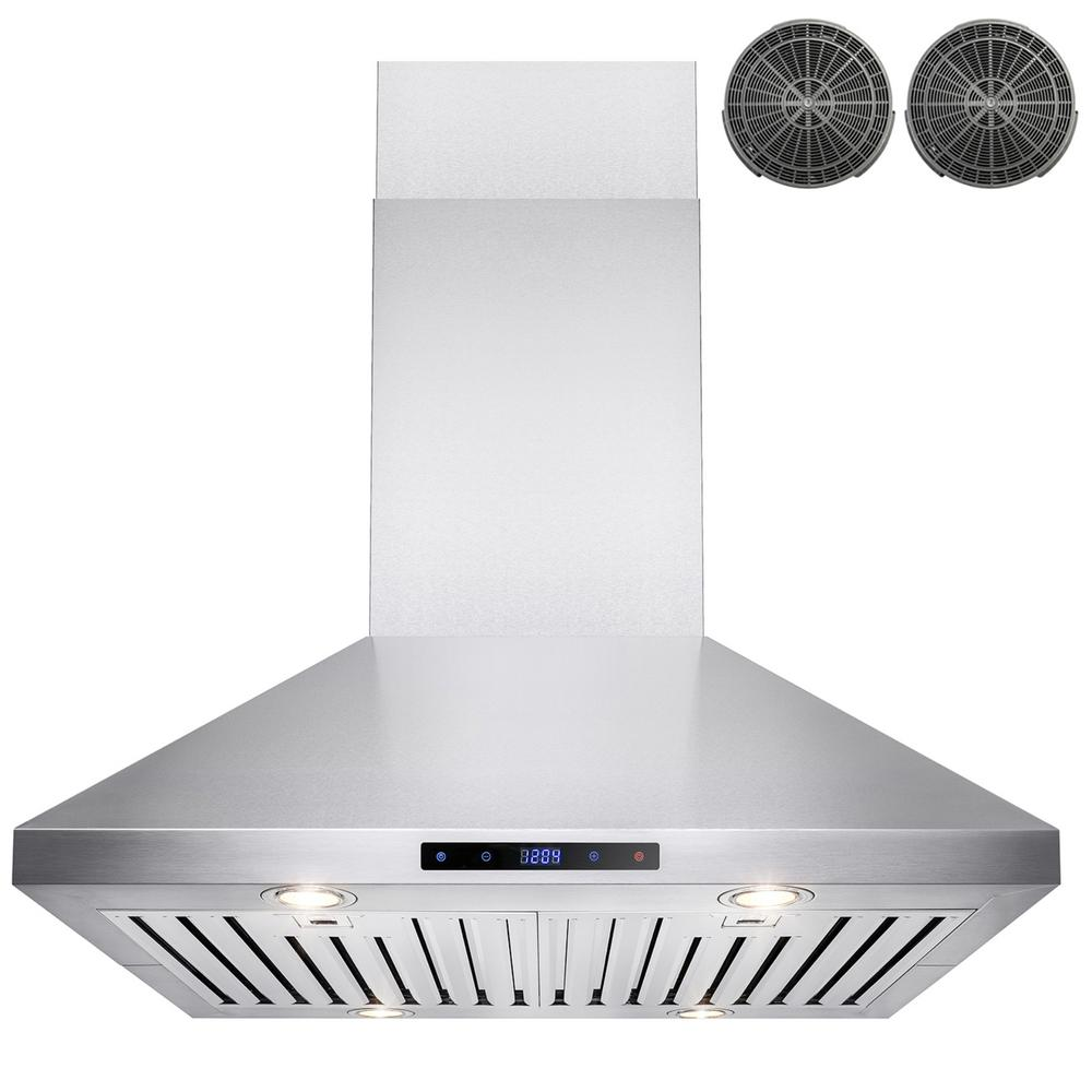 AKDY 30 in. Convertible Kitchen Island Mount Range Hood in ...