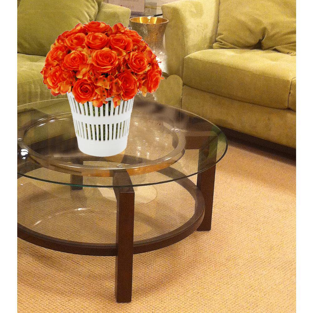 14 in. Orange French Rose Bouquet in Vermeil Cachepot