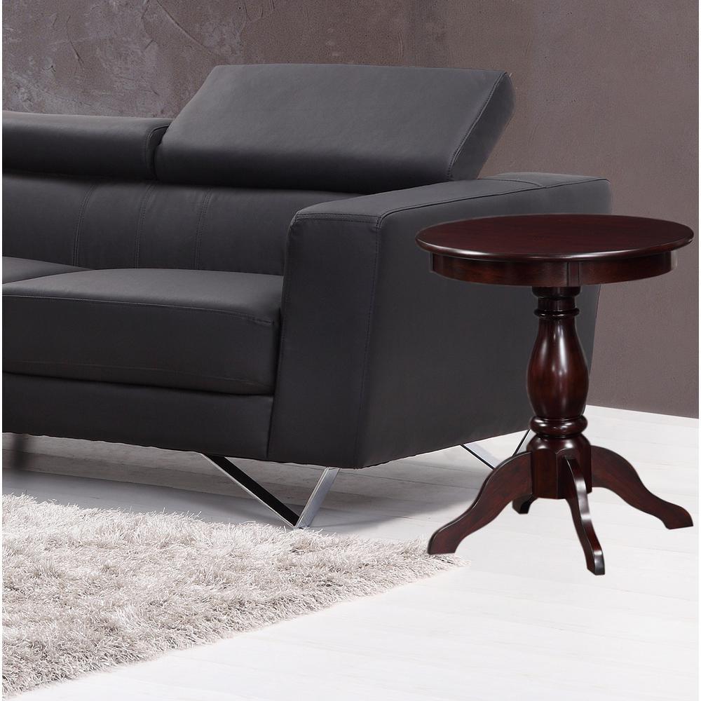 23.3 inch Alice Espresso Pedestal Accent Table by