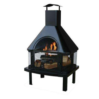 45 in. H Steel Wood Burning Outdoor Fireplace with Chimney and Included Wood Grate and Cooking Grate
