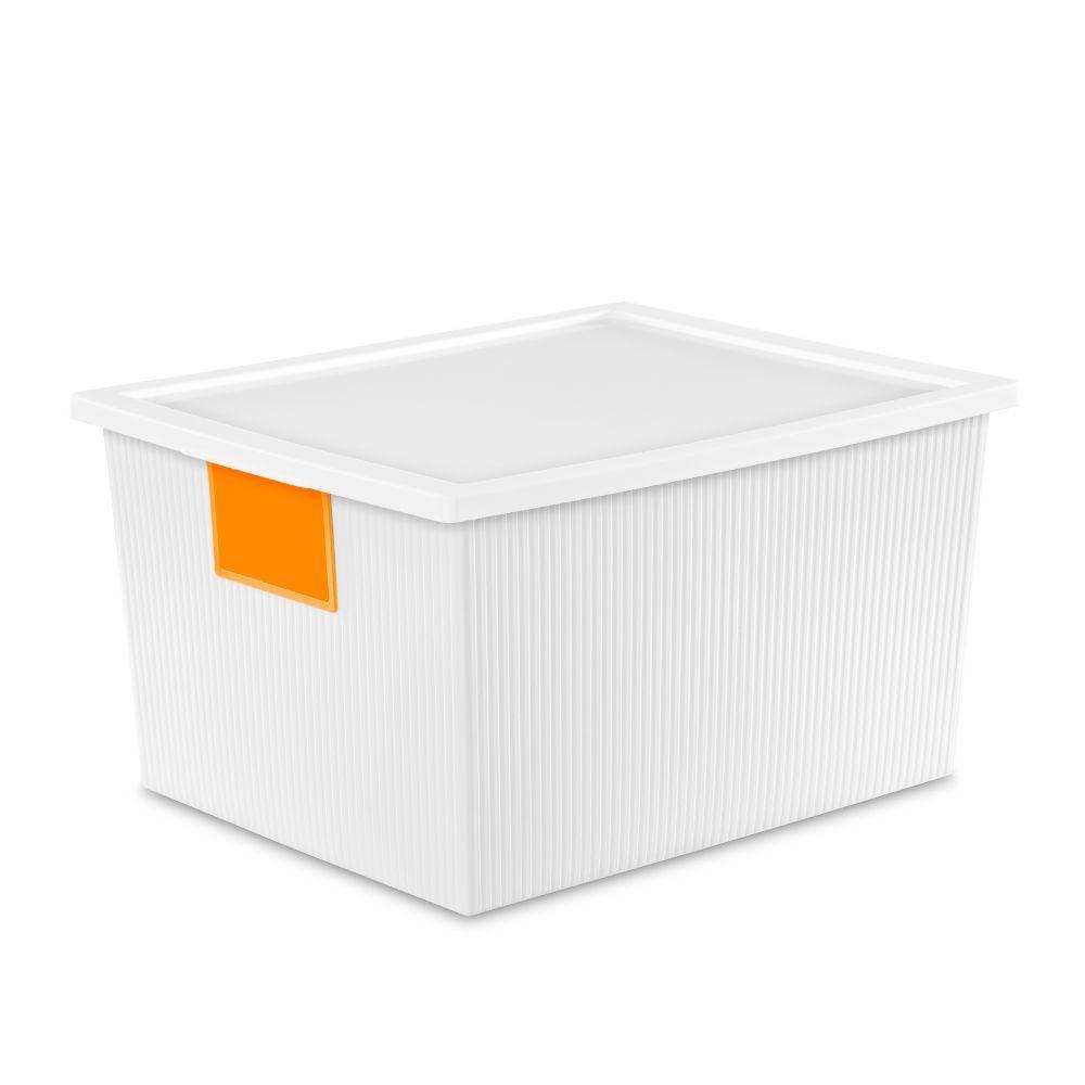 Sterilite 25 Qt ID Box Storage Bin in White 14338006 The Home Depot