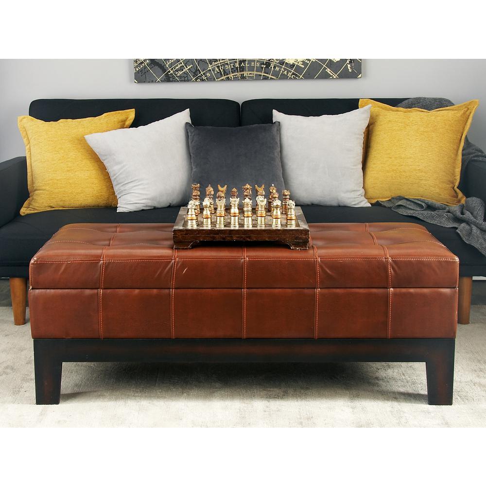 Chestnut Faux Leather Storage Bench