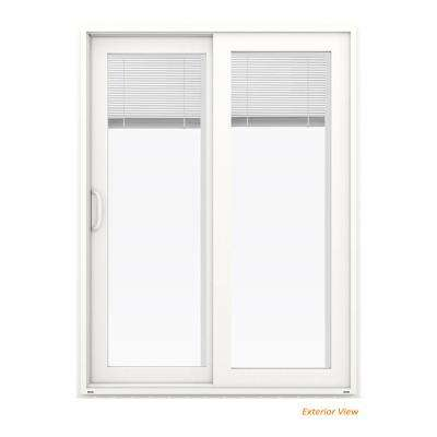 60 in. x 80 in. V-4500 White Vinyl Left-Hand Full Lite Sliding Patio Door w/Internal Blinds