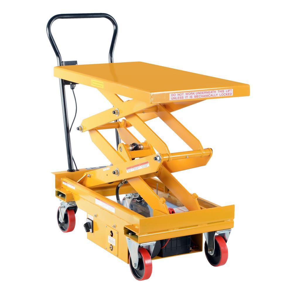 1,000 lb. 39.75 x 20.5 in. Dc Powered Double Scissor Cart