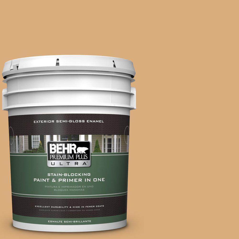 BEHR Premium Plus Ultra 5-gal. #PPU6-5 Cork Semi-Gloss Enamel Exterior Paint