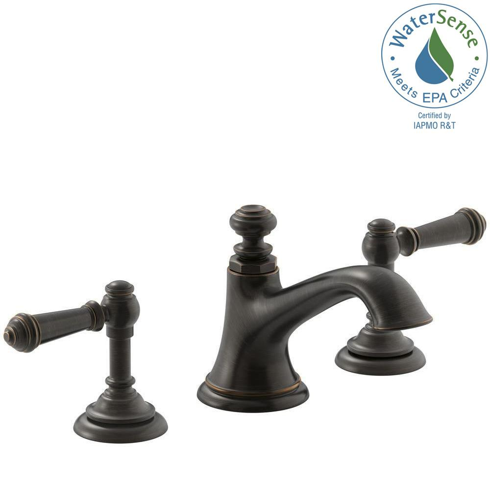 Kohler Artifacts 8 In Widespread 2 Handle Bell Design Bathroom Faucet Oil Rubbed Bronze With Lever Handles