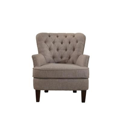 Button Tufted Taupe Accent Chair with Nailhead