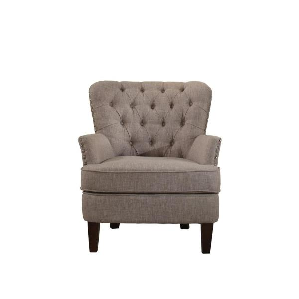 Taupe Accent Chairs.Button Tufted Taupe Accent Chair With Nailhead 92005 16tp The Home