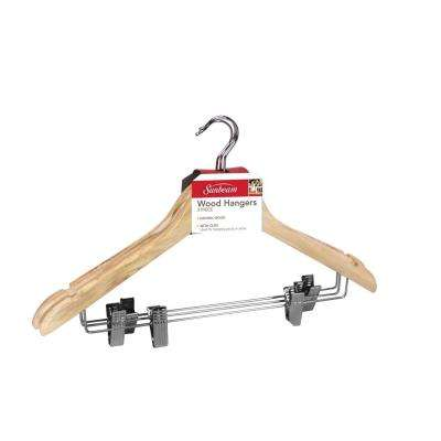 Natural Wood Hanger With Metal Clips (3-Pack)