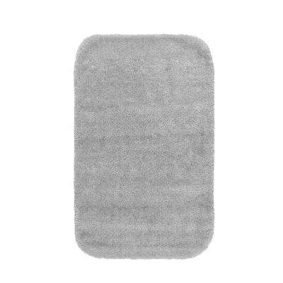 Traditional Platinum Gray 24 in. x 40 in. Washable Bathroom Accent Rug