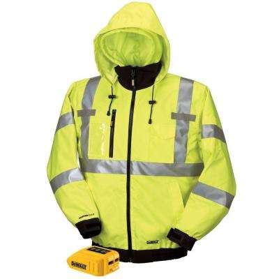 Unisex Large Yellow High Visibility 20-Volt/12-Volt MAX Heated Class 3, 3-In-1 Hooded Jacket