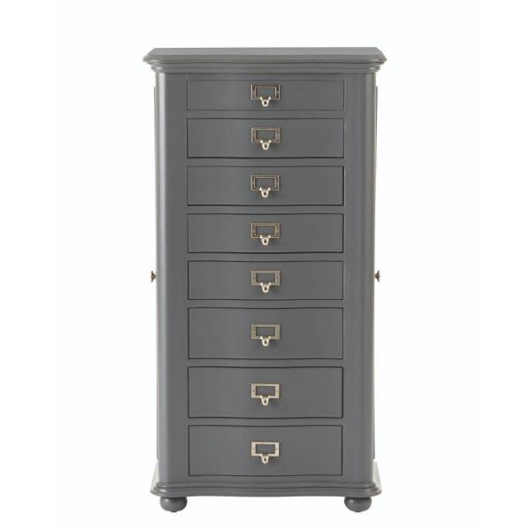 Home Decorators Collection Aimes 8-Drawer Jewelry Armoire in Graphic Charcoal