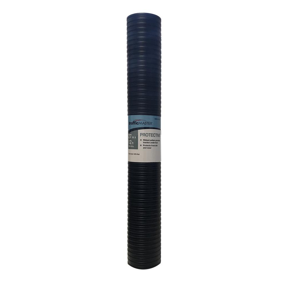 27 in. x 12 ft. Wide Rib Utility Black Floor Protector