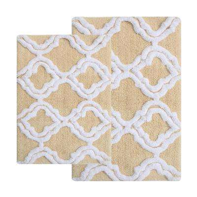 Double Quatrefoil Straw 2 ft. x 3 ft. 4 in. 2-Piece Bath Rug Set