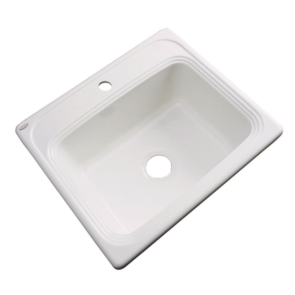 Wellington Drop-In Acrylic 25 in. 1-Hole Single Bowl Kitchen Sink in