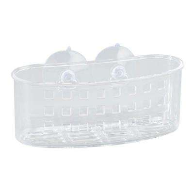 Medium Bath Basket with Suction in Clear