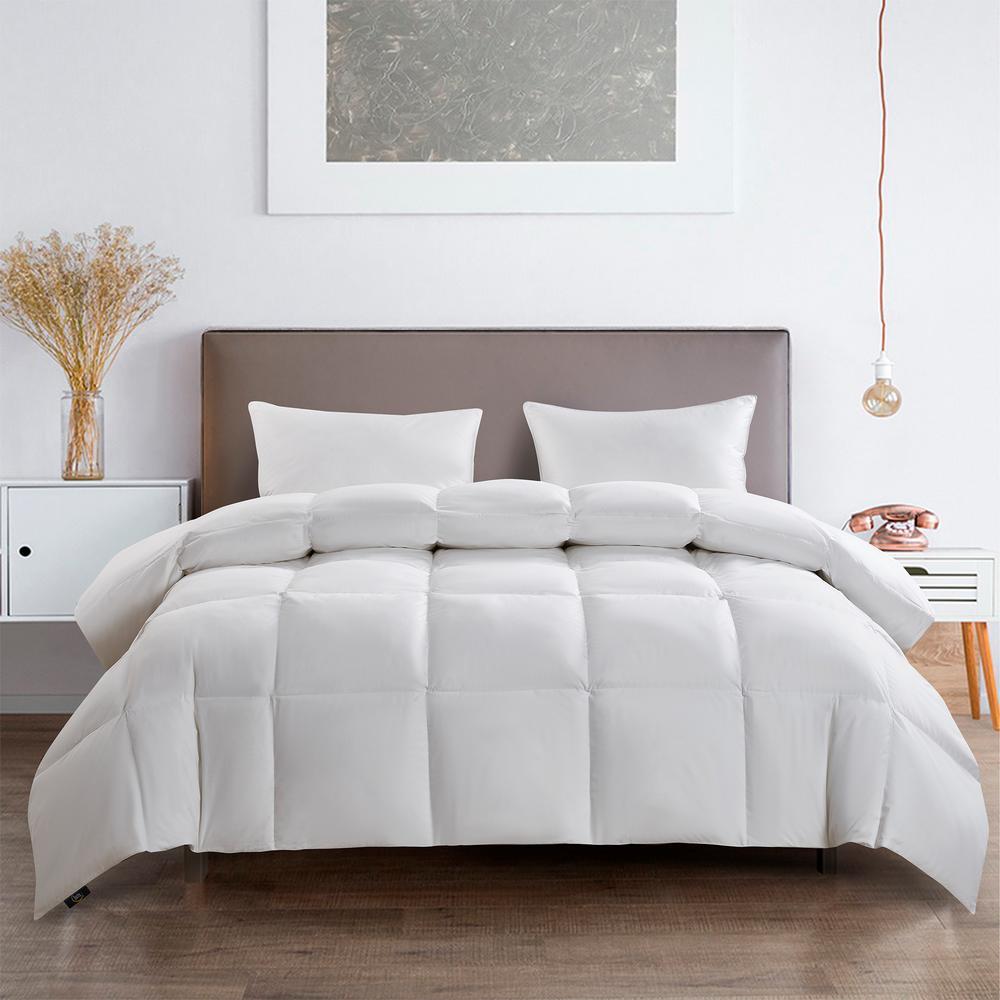 233TC Light Warmth White King Size White Goose Feather Fiber And White Goose Down Fiber Comforter