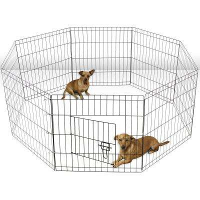 42 in. 1/6-Acre Tall Wire Fence Pet Dog Cat Folding In-Ground Exercise Yard 8-Panel Metal PlayPen Black
