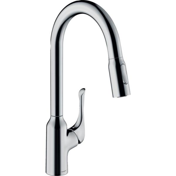 Hansgrohe Allegro N Single Handle Pull Down Sprayer Kitchen Faucet In Chrome 71843001 The Home Depot