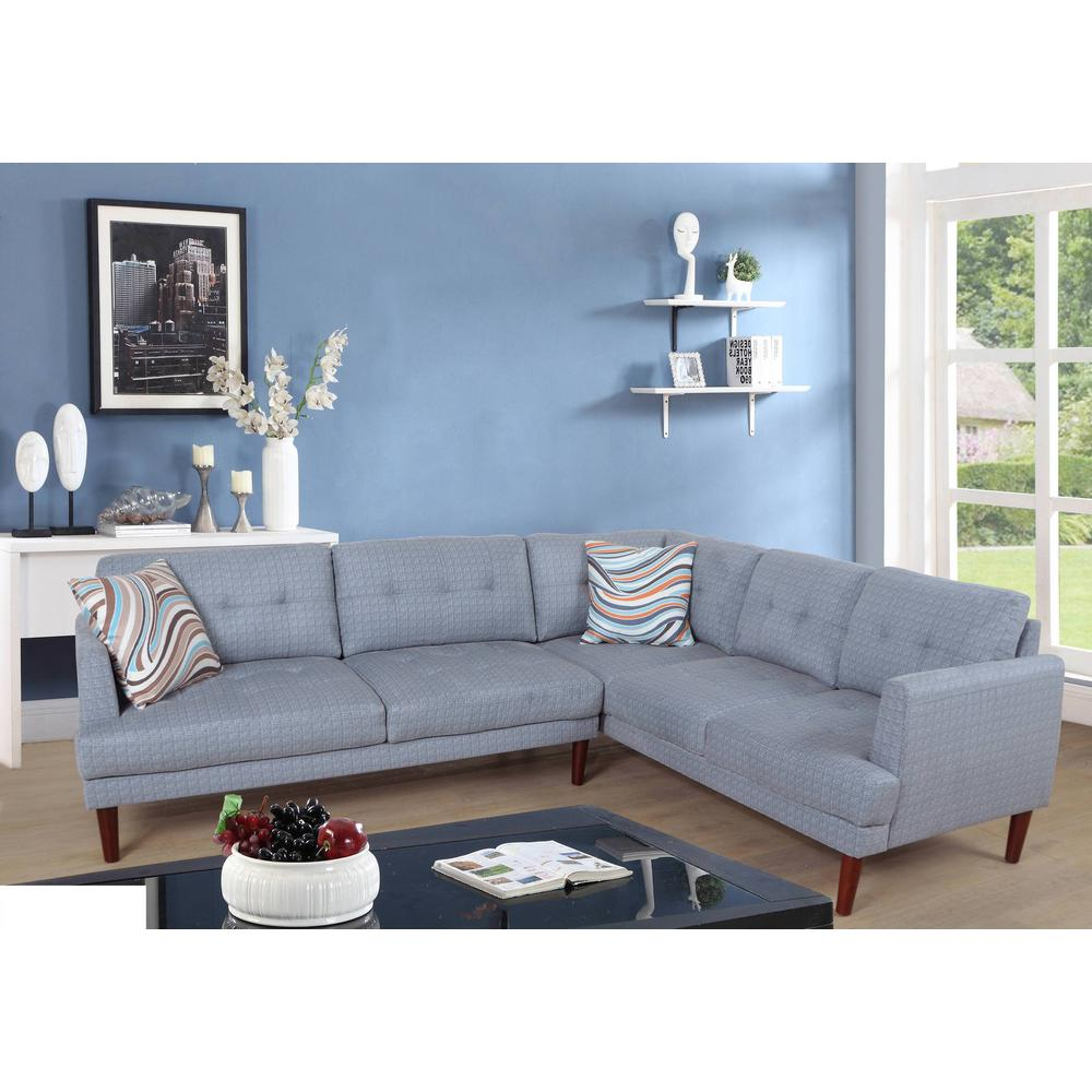 Gray Flint Plaid Sectional Sofa Set (2-Piece)
