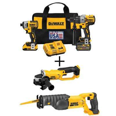 FLEXVOLT 60-Volt and 20-Volt MAX Lithium-Ion Cordless Brushless Combo Kit (2-Tool) with Bonus Grinder and Recip Saw