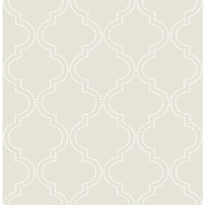 Taupe Quatrefoil Wallpaper