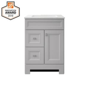 Sedgewood 24-1/2 in. Bath Vanity in Dove Gray with Solid Surface Technology Vanity Top in Arctic with White Sink