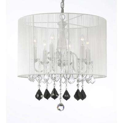 Empress Crystal 6-Light Chandelier With Large White Shade
