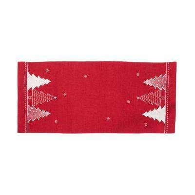 0.1 in. H x 15 in. W x 70 in. D Lovely Christmas Tree Embroidered Double Layer Table Runner in Red