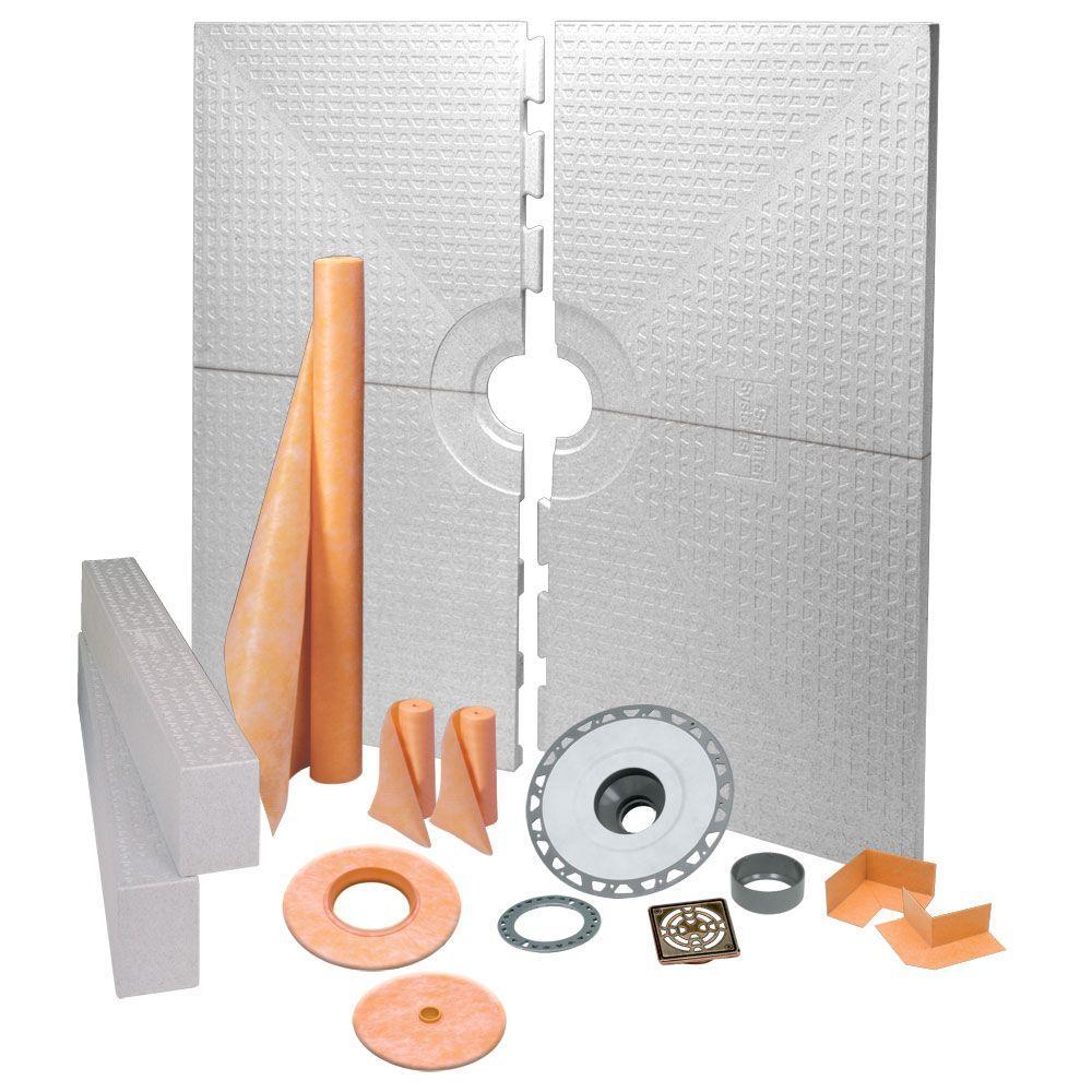 Schluter Kerdi 72 in. x 72 in. PVC Oil-Rubbed Bronze Shower Kit