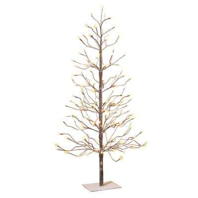 4 ft. Electric Snowy Brown Tree