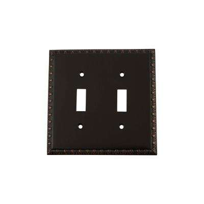 Egg and Dart Switch Plate with Double Toggle in Timeless Bronze