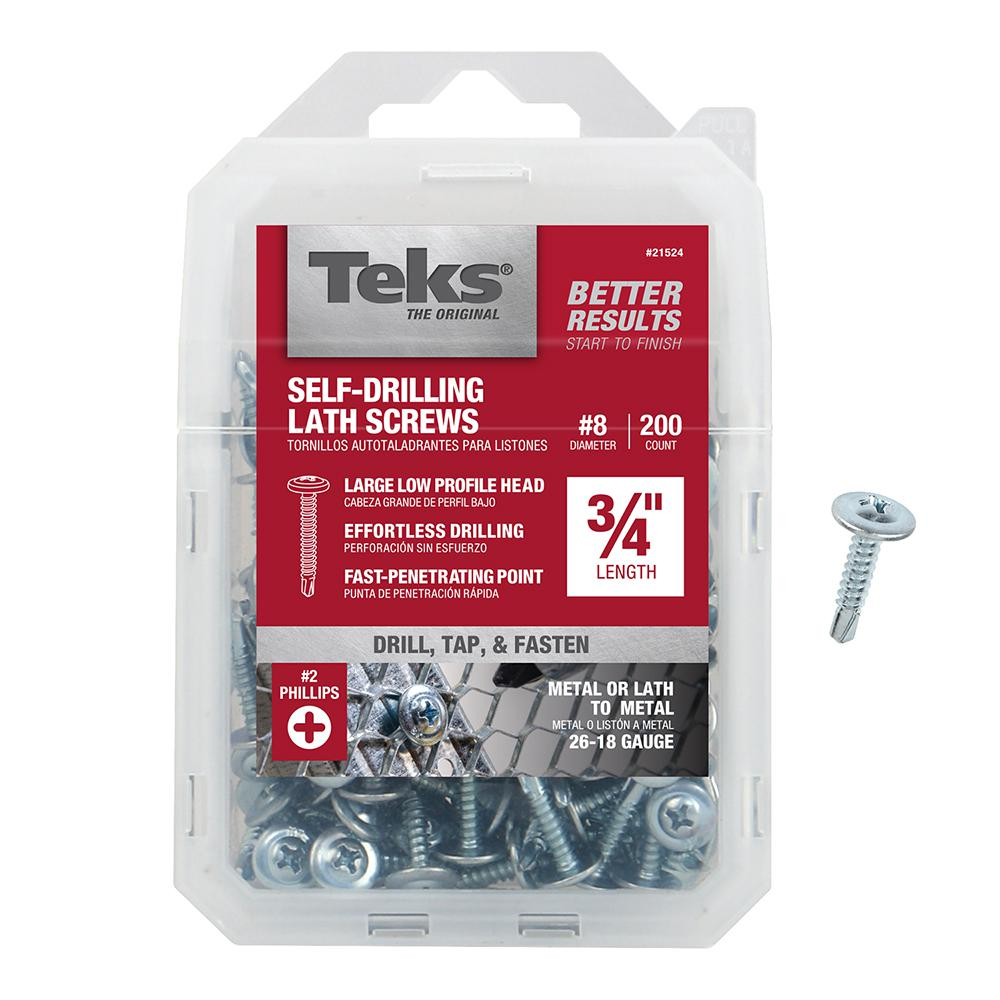 Teks #8 x 3/4 in. Zinc Plated Steel Philips Drill Truss-Head Point Lath Screws (200-Pack)
