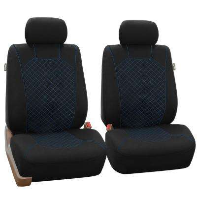 Fabric 47 in x 23 in. x 1 in. Ornate Diamond Stitching Half Set Front Seat Covers