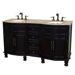 Click here to buy Bellaterra Home Cambria TR 62 inch Double Vanity in Dark Mahogany with Marble Vanity Top... by Bellaterra Home.