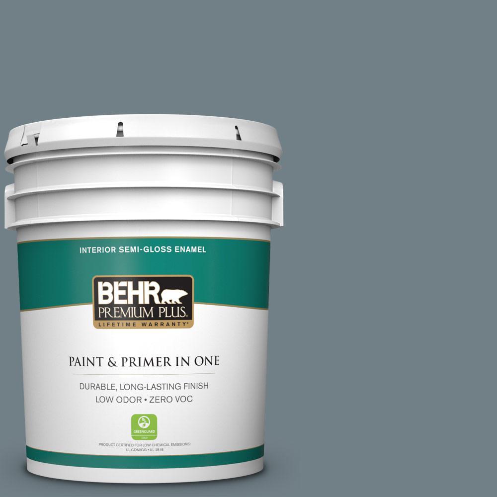 BEHR Premium Plus 5-gal. #BXC-48 Courtyard Blue Semi-Gloss Enamel Interior Paint