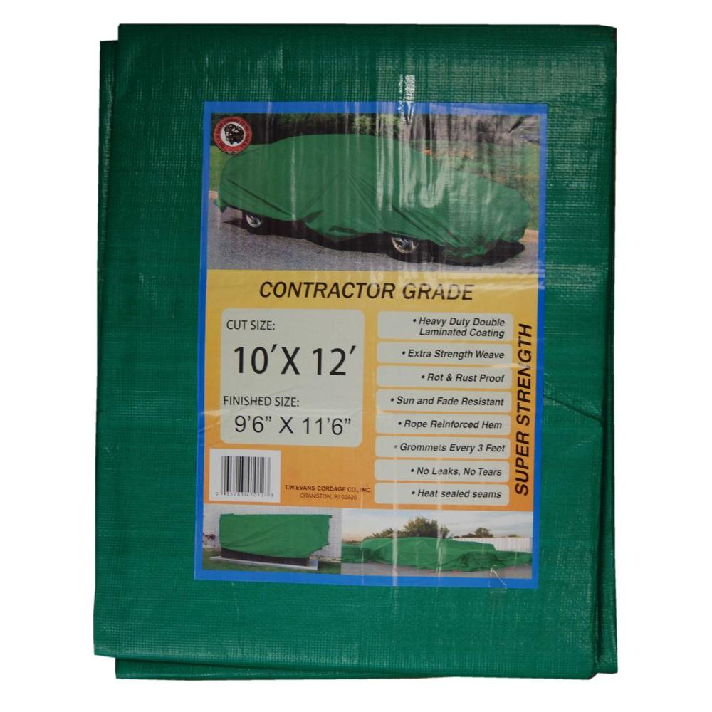 T.W. Evans Cordage 10 ft. x 12 ft. Black/Green Contractor Grade Value Poly Tarp