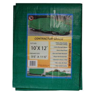 10 ft. x 12 ft. Black/Green Contractor Grade Value Poly Tarp