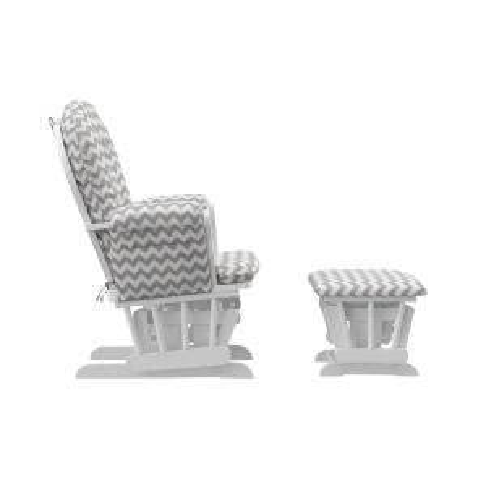 Terrific Storkcraft White With Gray Chevron Cushion Hoop Glider And Machost Co Dining Chair Design Ideas Machostcouk